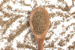 Cumin seeds into a spoon. Isolated in white background Stock Photo