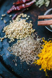 Cumin seeds surrounded by spices over black surface. Stock Image