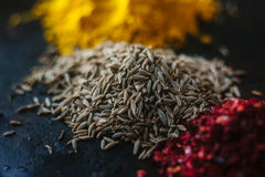 Cumin seeds surrounded by spices over black surface. Stock Images