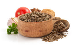 Cumin seeds on white background Stock Images