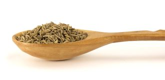 Cumin seeds in spoon isolated on white background. Cumin seeds in wooden spoon on a white background Stock Images