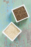Cumin and sesame seeds Royalty Free Stock Photography