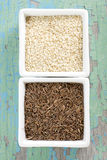 Cumin and sesame seeds Stock Photo