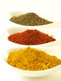 Cumin, turmeric, pepper Stock Photography