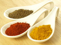 Cumin, turmeric and pepper Stock Photos