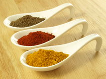 Cumin, turmeric and pepper Stock Photo