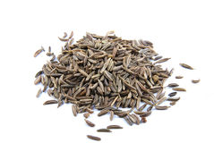Cumin on white background. Fragrant caraway seeds on white background Royalty Free Stock Images