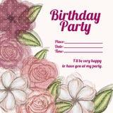 Cumpleaños de la invitación de las rosas Imágenes de archivo libres de regalías