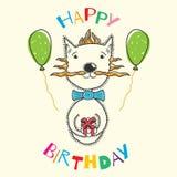 Cumpleaños de la postal con un gato, un regalo y las bolas inflables fotografía de archivo libre de regalías