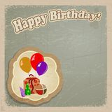 Cumpleaños de la postal del vintage. eps10 Imagen de archivo libre de regalías