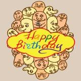 Cumpleaños de la tarjeta de felicitación de la impresión feliz Pequeño divertido Imágenes de archivo libres de regalías
