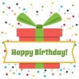 Cumpleaños de la tarjeta de felicitación del vector feliz Caja de regalo y fuegos artificiales grandes de estrellas coloreadas Foto de archivo