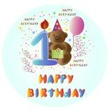 Cumpleaños de la tarjeta de felicitación feliz con el oso Imágenes de archivo libres de regalías