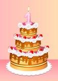 Cumpleaños de la torta Imagen de archivo libre de regalías