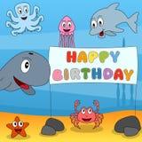 Cumpleaños de los animales de marina feliz stock de ilustración