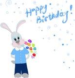 Cumpleaños de los congradulates del conejito feliz Imagen de archivo
