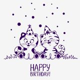 Cumpleaños de los gatitos ilustración del vector