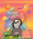 Cumpleaños del burro. Historieta Foto de archivo