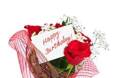 Cumpleaños del ramo y de la tarjeta de las rosas feliz Foto de archivo libre de regalías