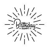 Cumpleaños Ejemplo de las letras del feliz cumpleaños Emblema de la insignia de la etiqueta del feliz cumpleaños Imagen de archivo libre de regalías