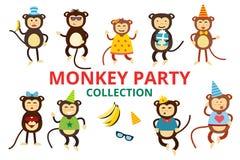 Cumpleaños feliz del partido de baile del mono del vector de la historieta Fotos de archivo libres de regalías