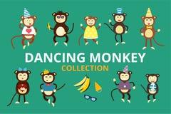 Cumpleaños feliz del partido de baile del mono del vector de la historieta Imagenes de archivo
