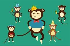 Cumpleaños feliz del partido de baile del mono del vector de la historieta Imagen de archivo