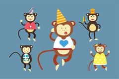 Cumpleaños feliz del partido de baile del mono del vector de la historieta Foto de archivo libre de regalías