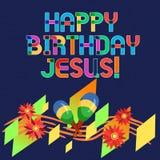 Cumpleaños Jesús del texto de la escritura de la palabra feliz Concepto del negocio para celebrar el nacimiento del día de la Nav stock de ilustración