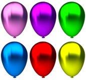 Cumpleaños púrpura, azul, verde, amarillo, rosado y rojo Imagenes de archivo