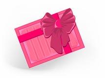 Cumpleaños rayado rosado de la Navidad de la cinta del regalo foto de archivo libre de regalías