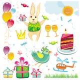 Cumpleaños y conjunto de la celebración stock de ilustración