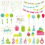 Cumpleaños y sistema del partido Imagen de archivo libre de regalías