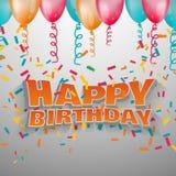 Cumpleaños del texto del vector 3d feliz Fotografía de archivo libre de regalías