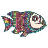 Cumprimentando o cartão bonito com peixes Quadro do animal feito no vetor Pesque a ilustração para o projeto, teste padrão, matér Fotos de Stock