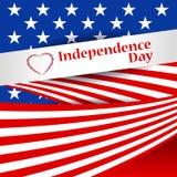 Cumprimentando o cartão patriótico com a bandeira de América Dia da Independência dos E.U., o 4 de julho Fundo abstrato com objet Foto de Stock