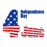 Cumprimentando o cartão patriótico com a bandeira de América Dia da Independência dos E.U., o 4 de julho Fundo abstrato com objet Fotografia de Stock