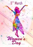 Cumprimentando o fundo para comemorar o dia das mulheres felizes internacionais ilustração royalty free