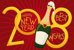 Cumprimentando o projeto com Champagne Bottle espumoso pelo ano novo: ilustração do vetor