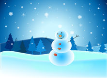 Cumprimentando os feriados do ano novo com boneco de neve Imagens de Stock Royalty Free