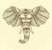 Cumprimentar o cartão bonito com indiano modelou a cabeça do elefante Ilustração do vetor Uso para a cópia, cartazes, t-shirt ou Fotografia de Stock
