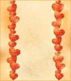 Cumprimento abstrato do ouro do projeto com a festão brilhante do coração Imagens de Stock Royalty Free
