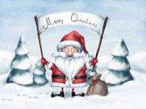 Cumprimento alegre de Santa Claus com Natal Fotos de Stock