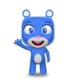 Cumprimento azul do caráter do urso Imagem de Stock Royalty Free