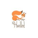 Cumprimento bonito do esquilo dos desenhos animados Olá! pouco engraçado Ilustração do vetor ilustração royalty free