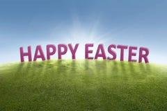 Cumprimento da Páscoa feliz na grama verde Fotografia de Stock Royalty Free