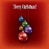 Cumprimento de Cristmas com as decorações no vermelho Fotos de Stock Royalty Free