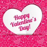 Cumprimento de papel laçado do coração do dia de Valentim do vetor Foto de Stock Royalty Free