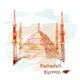 Cumprimento de Ramadan Kareem com a mesquita no fundo nebuloso do dia Fotos de Stock