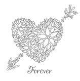 Cumprimento do dia de Valentim com da letra do ` ` para sempre ilustração do vetor